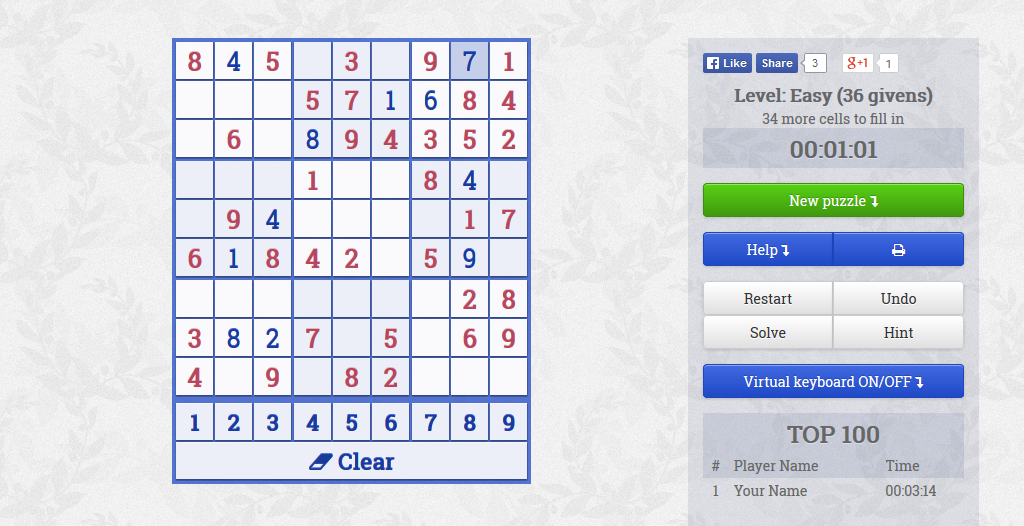 Sudoku Slider